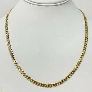 14k Gold 4.5mm Two Tone Diamond Cut Necklace 20""